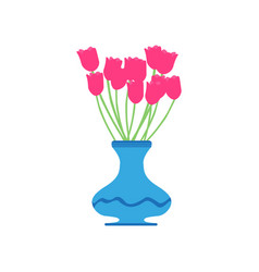 vase tulip red flower beautiful vector image