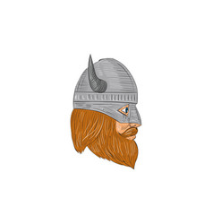Viking warrior head right side view drawing vector