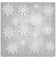 Vintage background with snowflake set vector