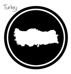 White map of turkey on black circle vector