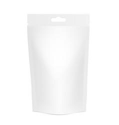 White realistic polyethylene bag with hang slot vector