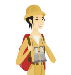 Young asian traveler with backpack and binoculars vector