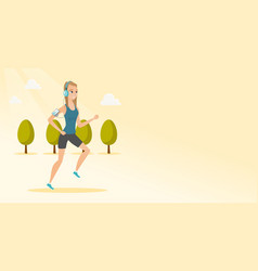 Young man running with earphones and smartphone vector