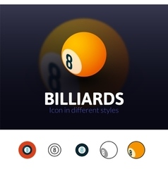 Billiards icon in different style vector