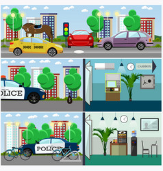 Set of police interior posters banners in vector