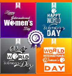 Happy women day flat design greeting card vector