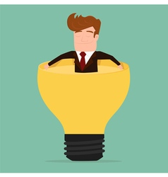 Businessman relax and soaking in lightbulb idea vector image