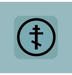 Pale blue orthodox cross sign vector