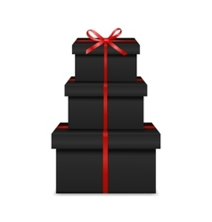 Stack of three realistic black gift boxes with red vector image