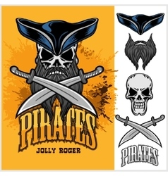 Pirate skull in hat with cross swords vector