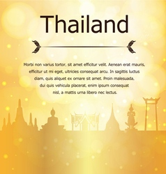 Thailand travel landmarks gold background vector