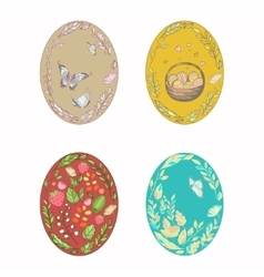 Set of bright multi-colored easter eggs vector