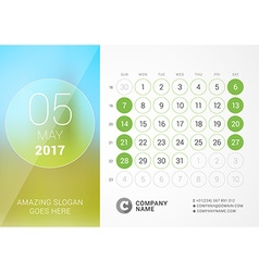 Desk calendar for 2017 year may design print vector