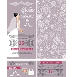 Bridal shower wedding cardsbridewinter ornament vector