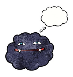 Cartoon vampire cloud with thought bubble vector