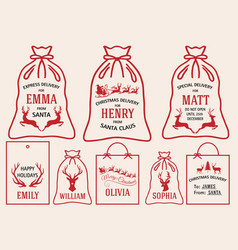 Christmas bags and tags set christmas bags and vector