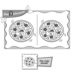 Find 9 differences game pizza black vector