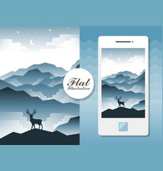 Flat landscape with deer vector