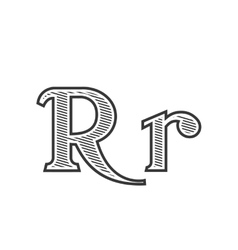 Font tattoo engraving letter r with shading vector
