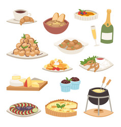 french cuisine traditional food delicious meal vector image