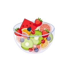 Fruit Salad Breakfast Food Element Isolated Icon vector image vector image