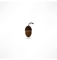 glossy acorn on white background vector image vector image