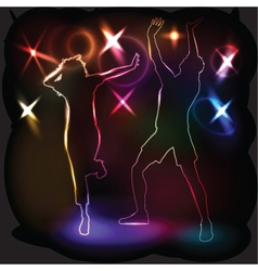 glowing outlines of people vector image vector image