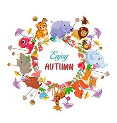 Goodbye summer hello autumn with animals ground vector