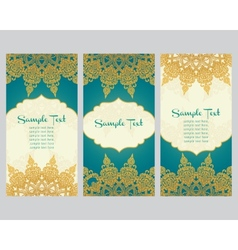 greeting cards in east style on blue background vector image vector image
