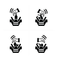 Hand and shopping cart icon set vector