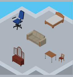 Isometric furniture set of couch office drawer vector