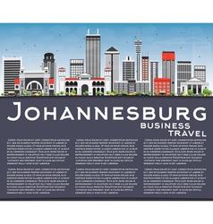 Johannesburg skyline with gray buildings vector