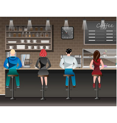 people set sitting in restaurant cafe or bar vector image