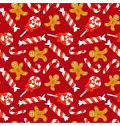 Seamless pattern with cute cartoon christmas candy vector