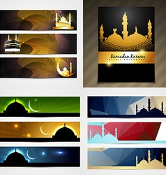 Set of attractive banner of eid festival vector