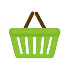 Shopping basket icon flat style isolated on white vector image