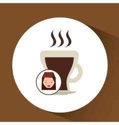 Woman cute cup coffee hot graphic vector