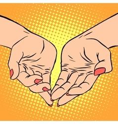 Womens hand heart shape love romance Valentines vector image