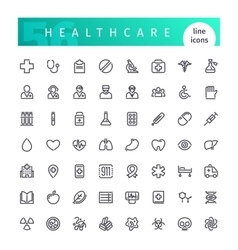 Healthcare line icons set vector