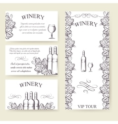 Winery bouqlet and cards templates set vector