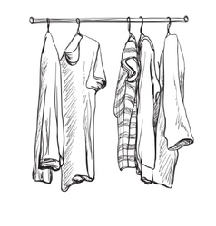 Wardrobe sketch clothes on the hangers vector