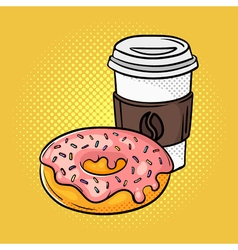 Hand drawn pop art of donut and coffee on the go vector