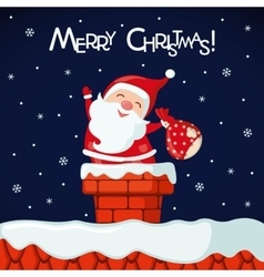 Christmas card with funny santa claus in chimney vector
