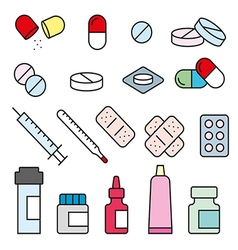 Set flat medical pills vector