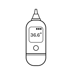Infrared ear thermometer linear flat object vector