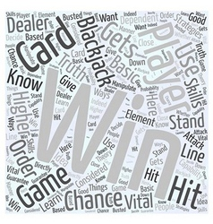 Bwg how to win blackjack word cloud concept vector