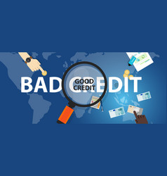 Bad credit vs good credit score loan financial vector