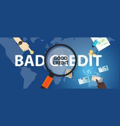 bad credit vs good credit score loan financial vector image