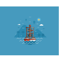 Sea bell buoy on seaside background vector