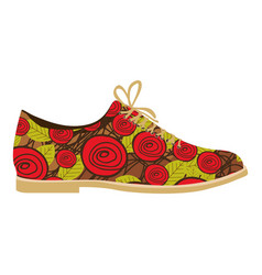 colorful silhouette of male shoe with floral vector image